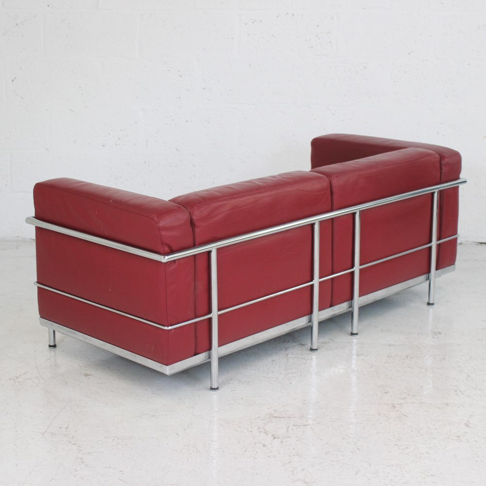 Le Corbusier Style Lc3 Sofa Red Sofas Leather Sofa